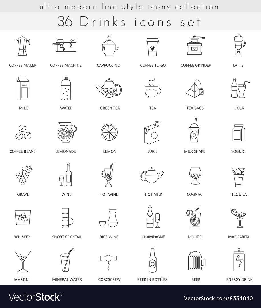 Drinks ultra modern outline line icons for