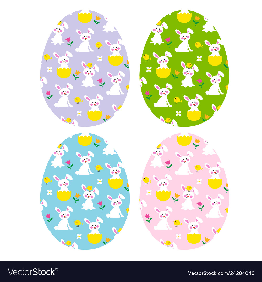 Easter eggs with cute bunnies and chicks