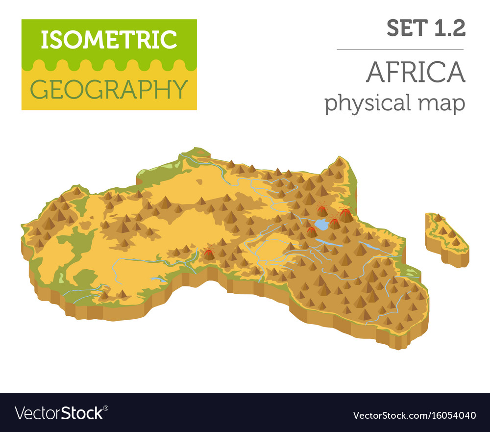 Map Of Africa 3d.Flat 3d Isometric Africa Map Constructor Elements Vector Image