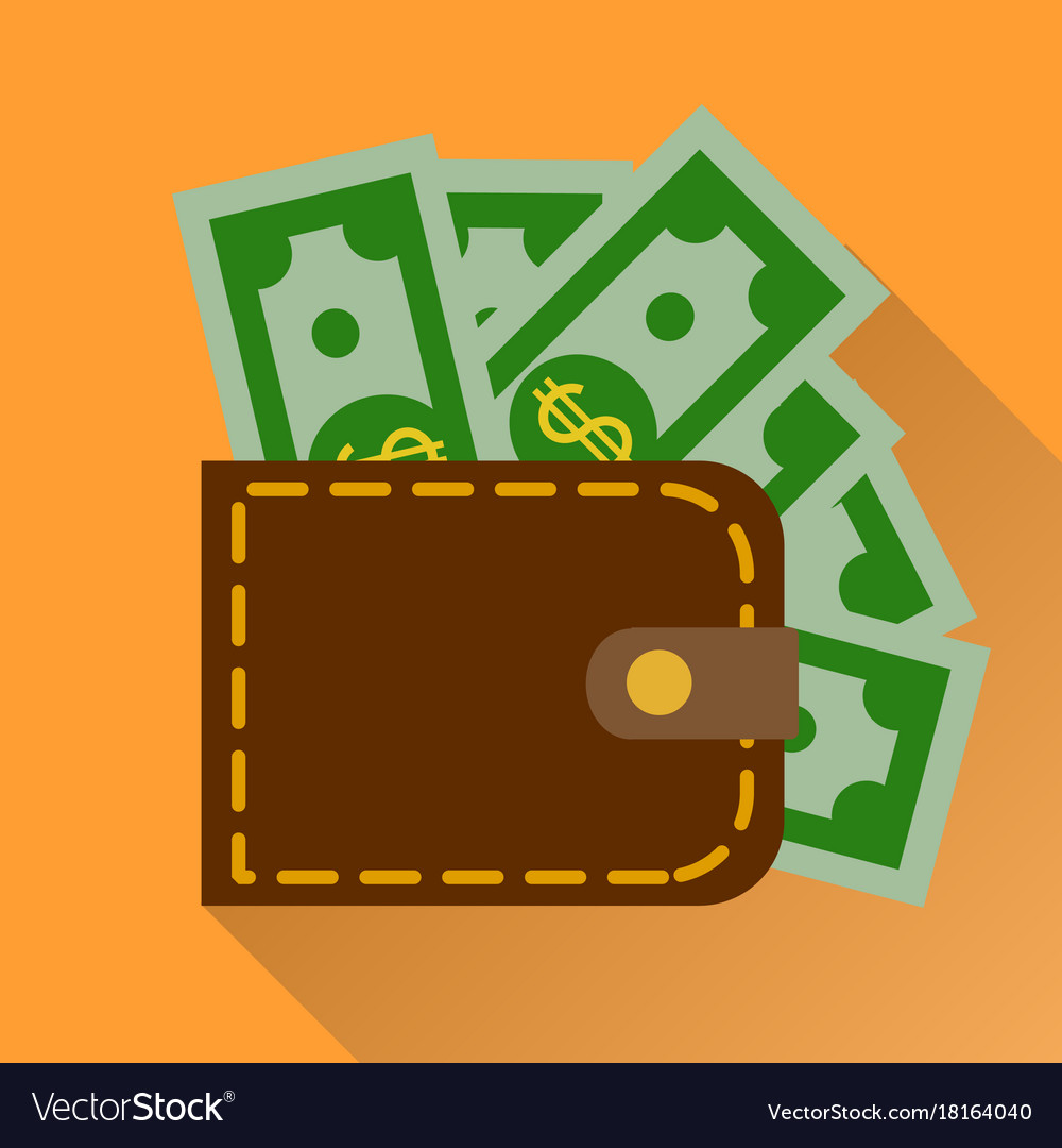 Flat wallet with cash icon