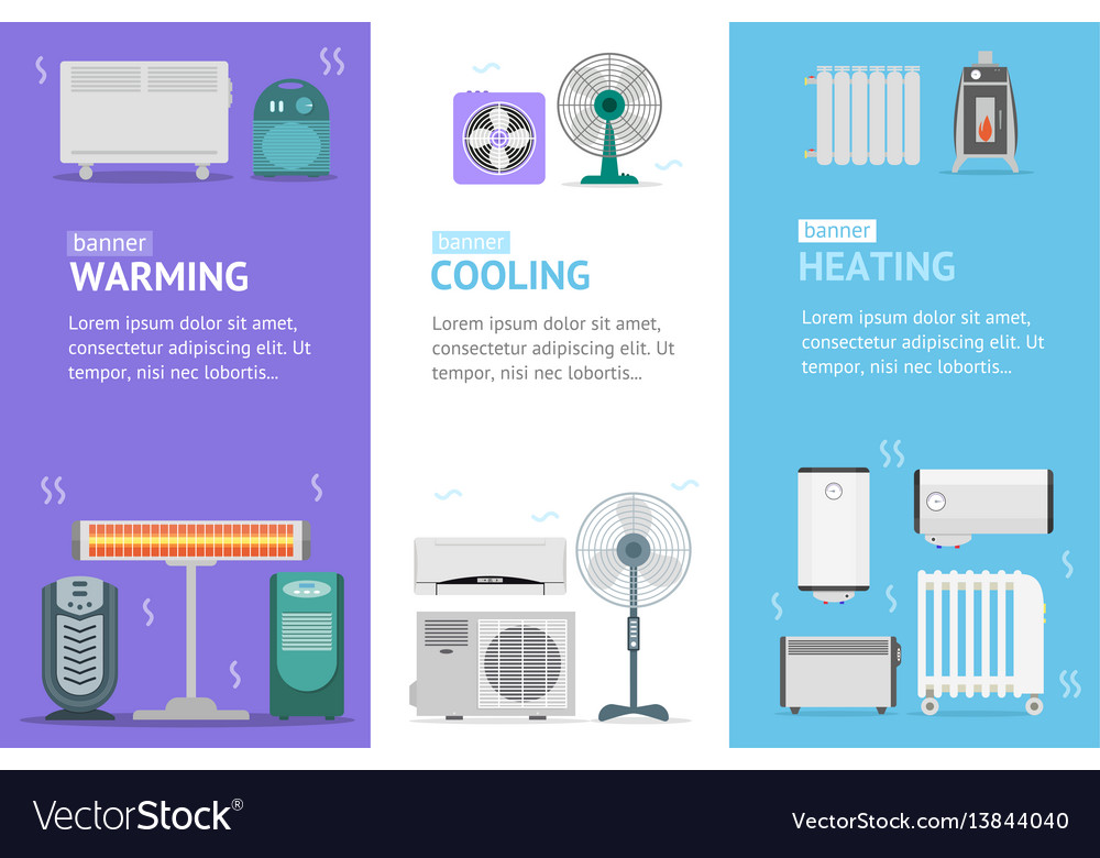 Heating cooling and warming devices banner card