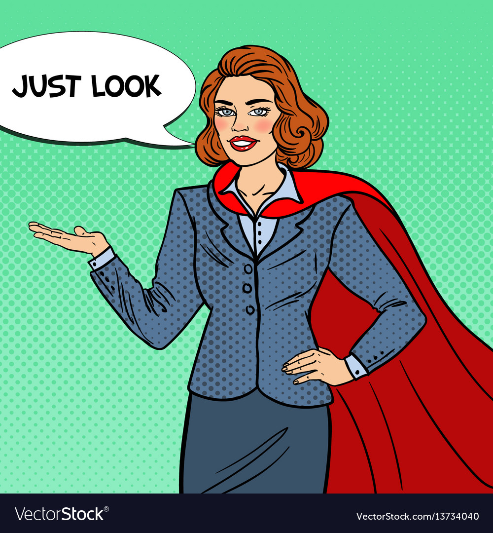 Pop art smiling super businesswoman in red cape