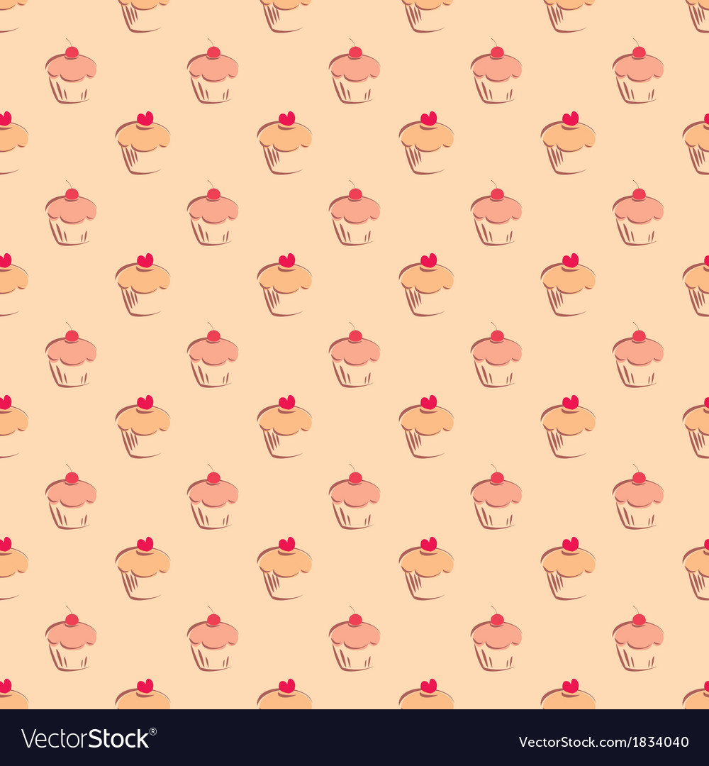 Seamless pattern or texture with sweet cupcakes