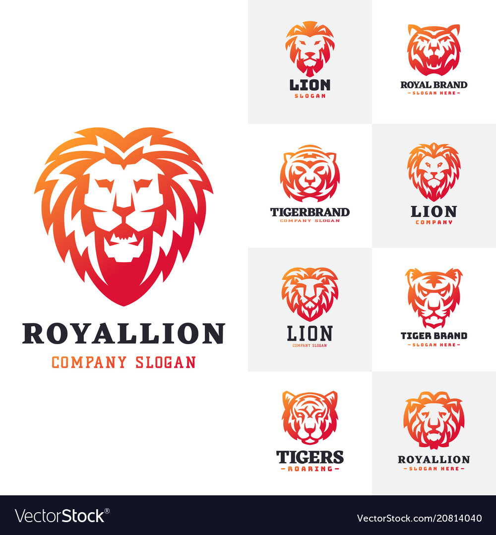 Tiger and lions face logo badge strength predator