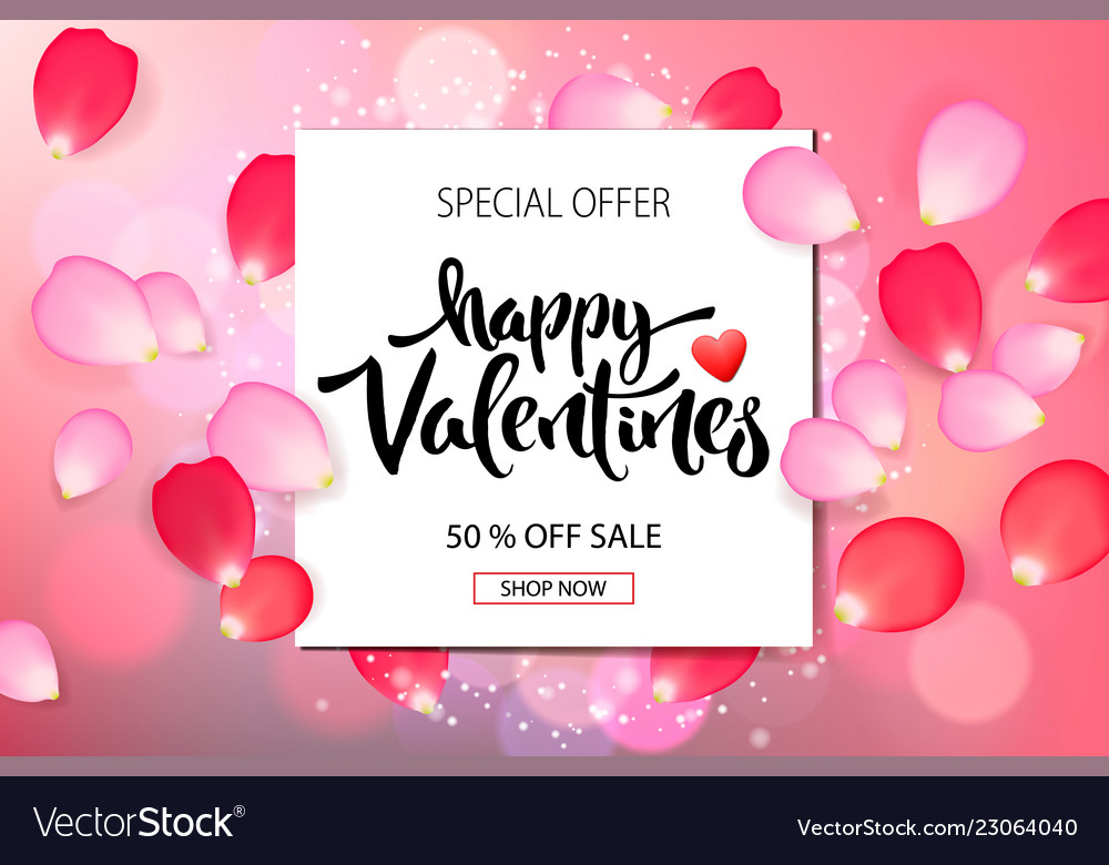 Valentines day sale background with roses petals