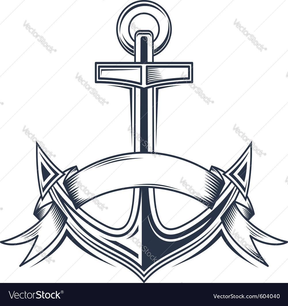 Vintage anchor vector image