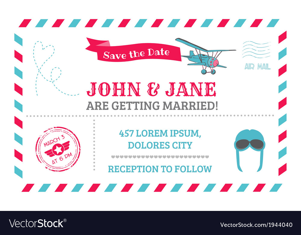 wedding invitation card airplane theme vector image