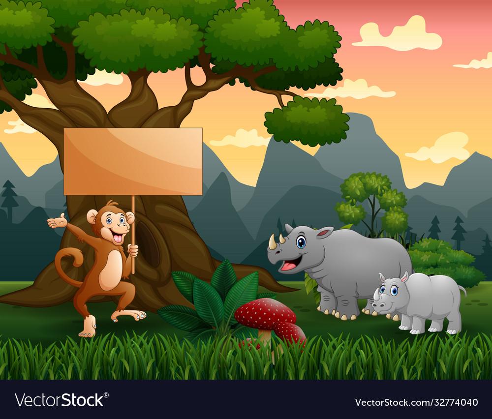 Wild animals cartoon in jungle