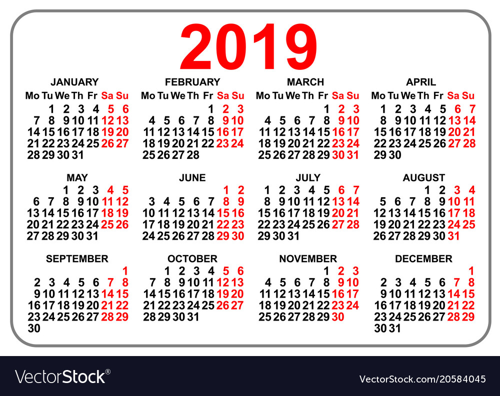 Day Calendar 2019 2019 compact grid pocket calendar first day monday