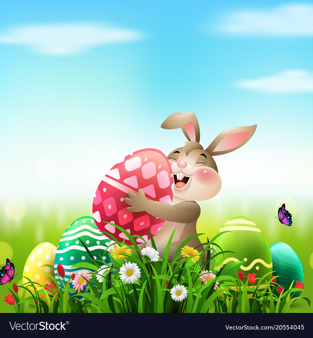 Cartoon rabbit holding easter egg in field