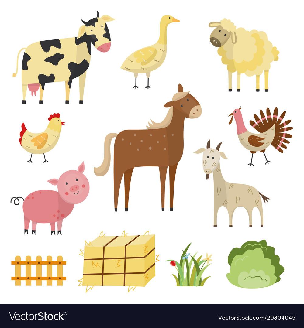 Farm animals birds rural symbols set