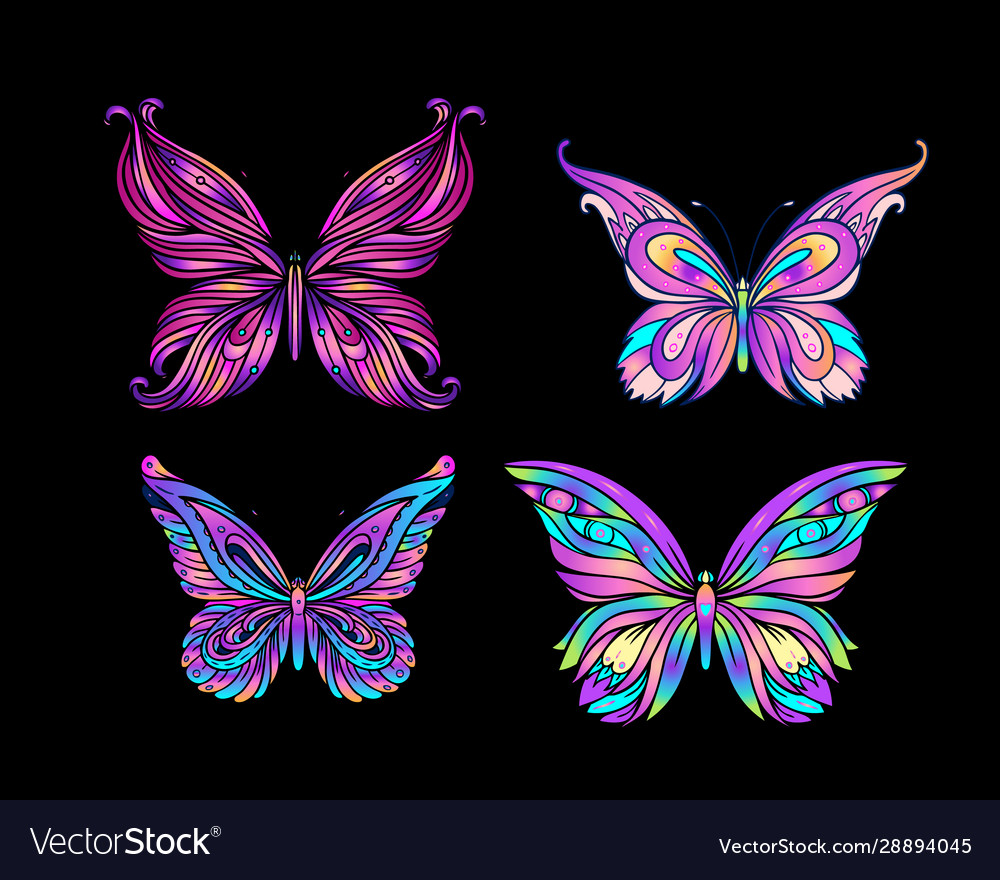 Hand drawn butterfly in bright neon colors han