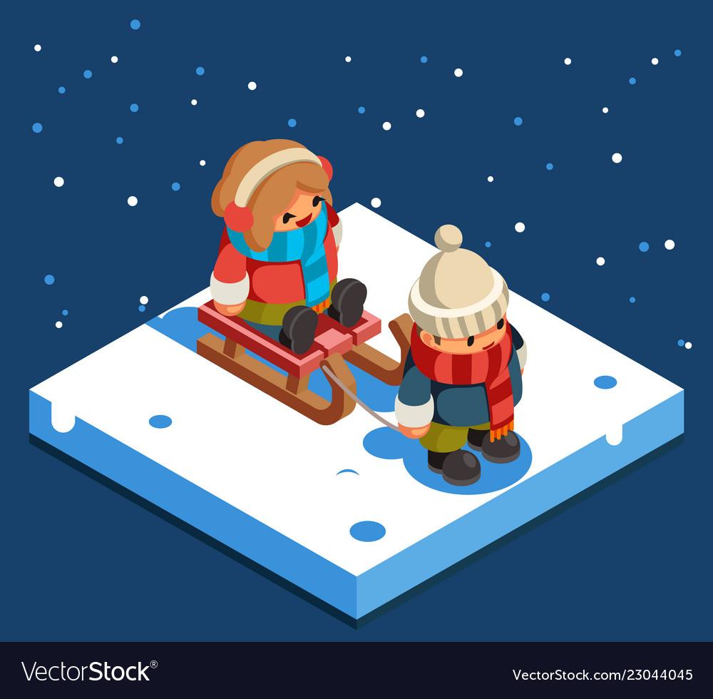 Kids isometric boy sledding girl sleigh winter