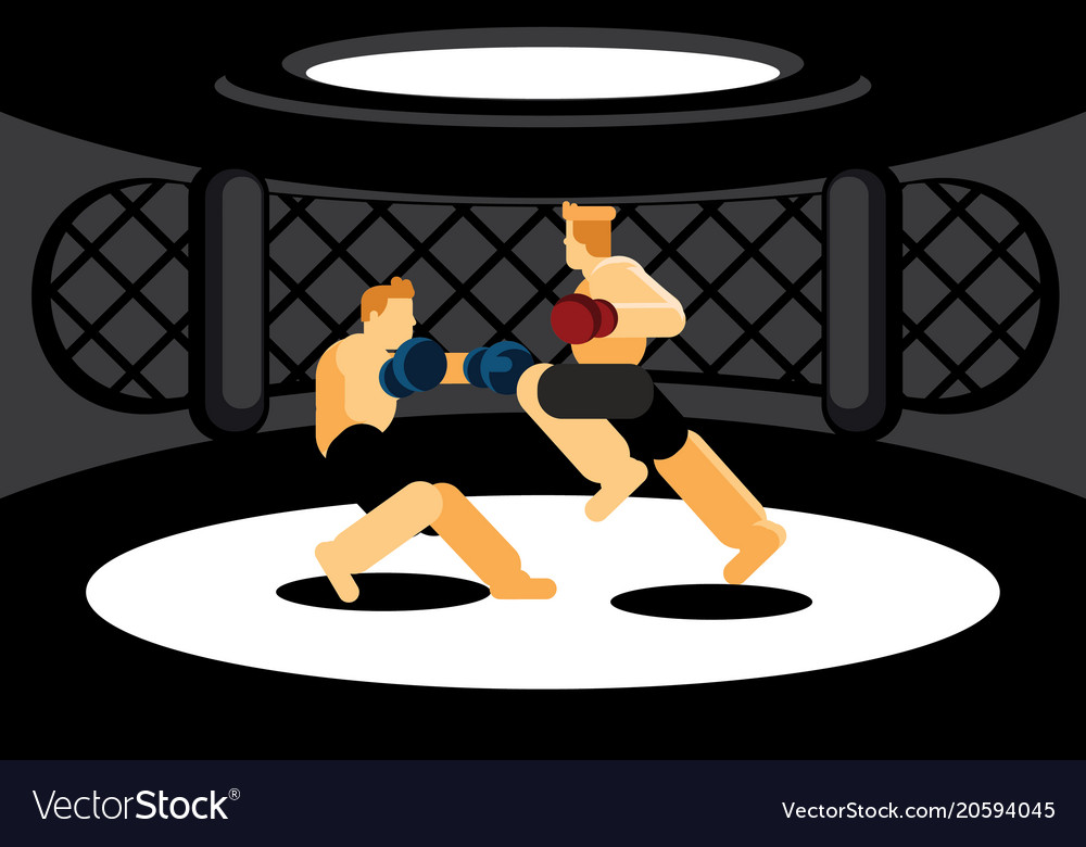 Mixed martial art fighters fighting in black cage
