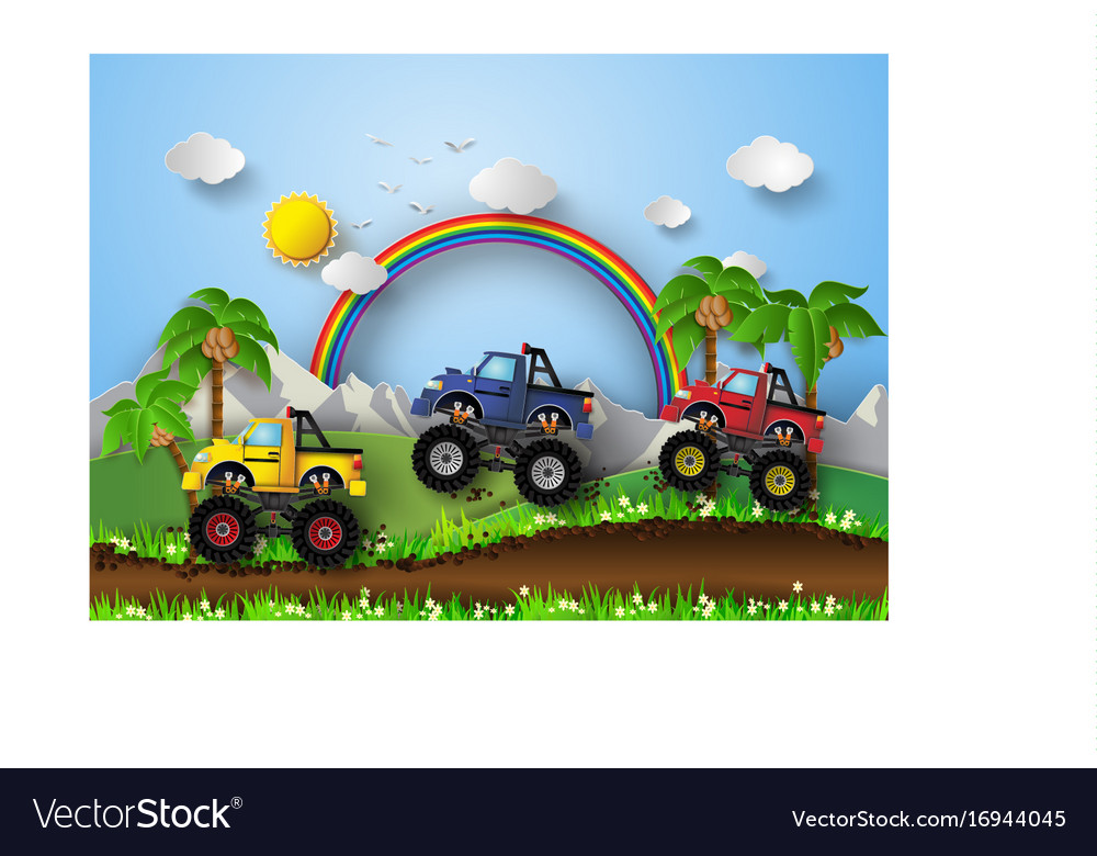 Monster truck racing vector image