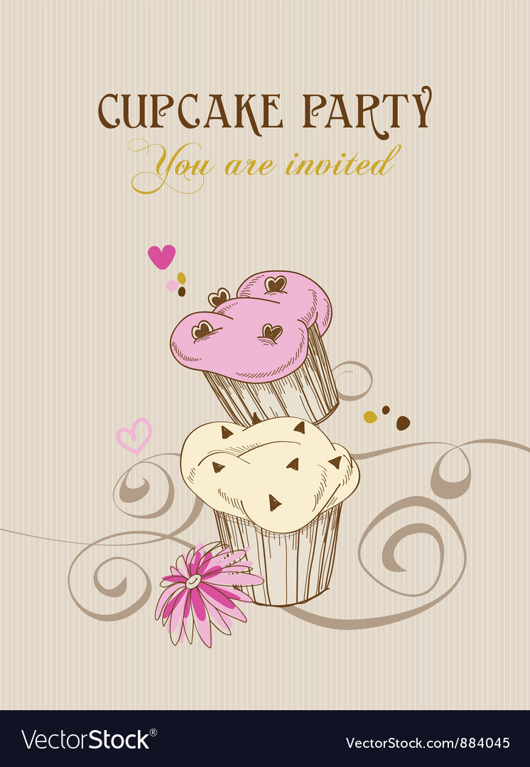 Retro cupcake party invitation vector image