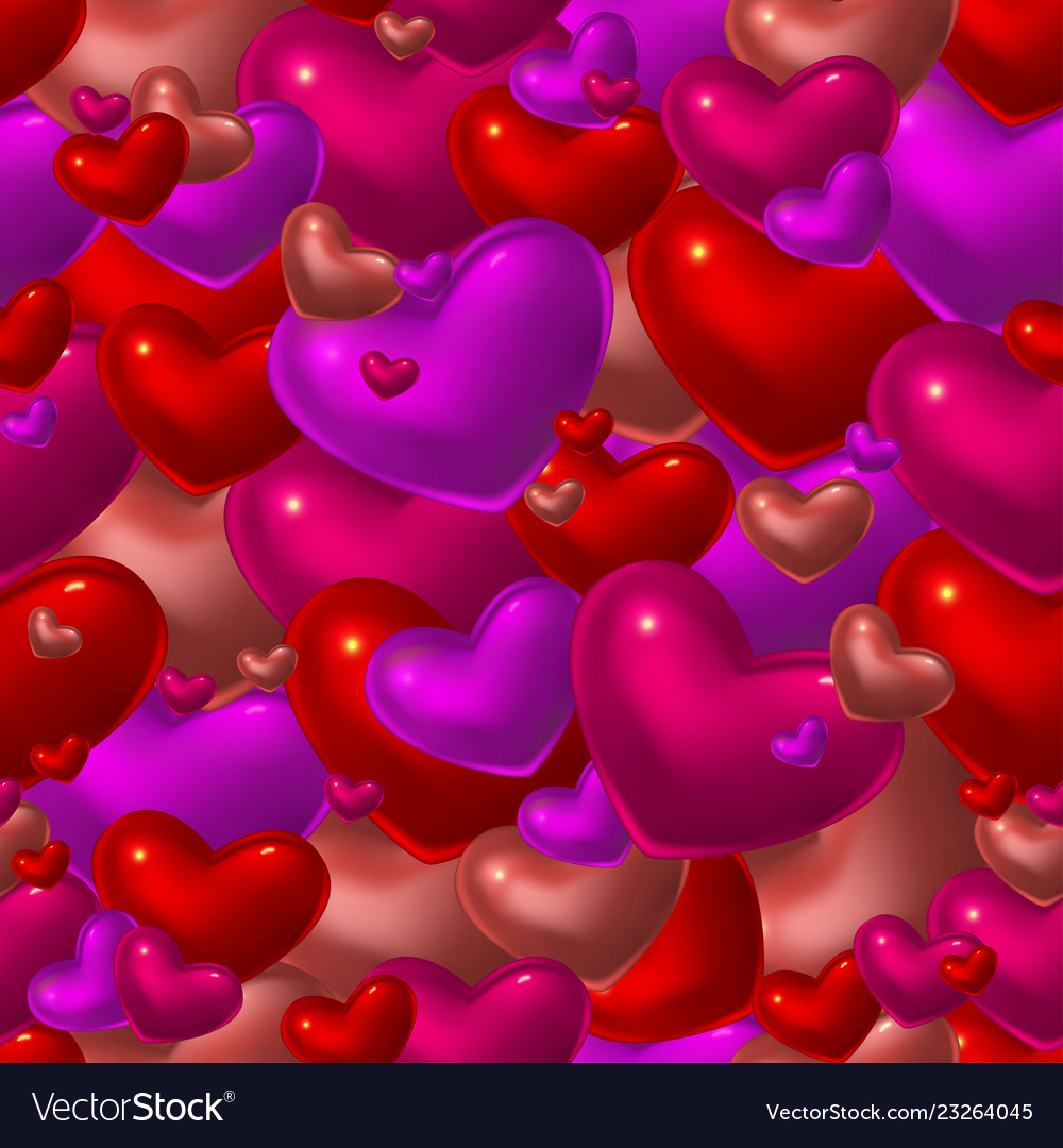 Seamless pattern with red glass hearts