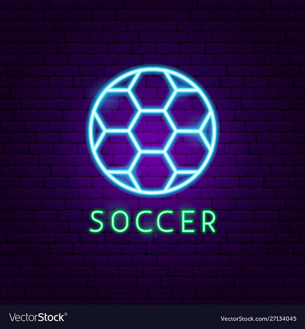 Soccer neon label