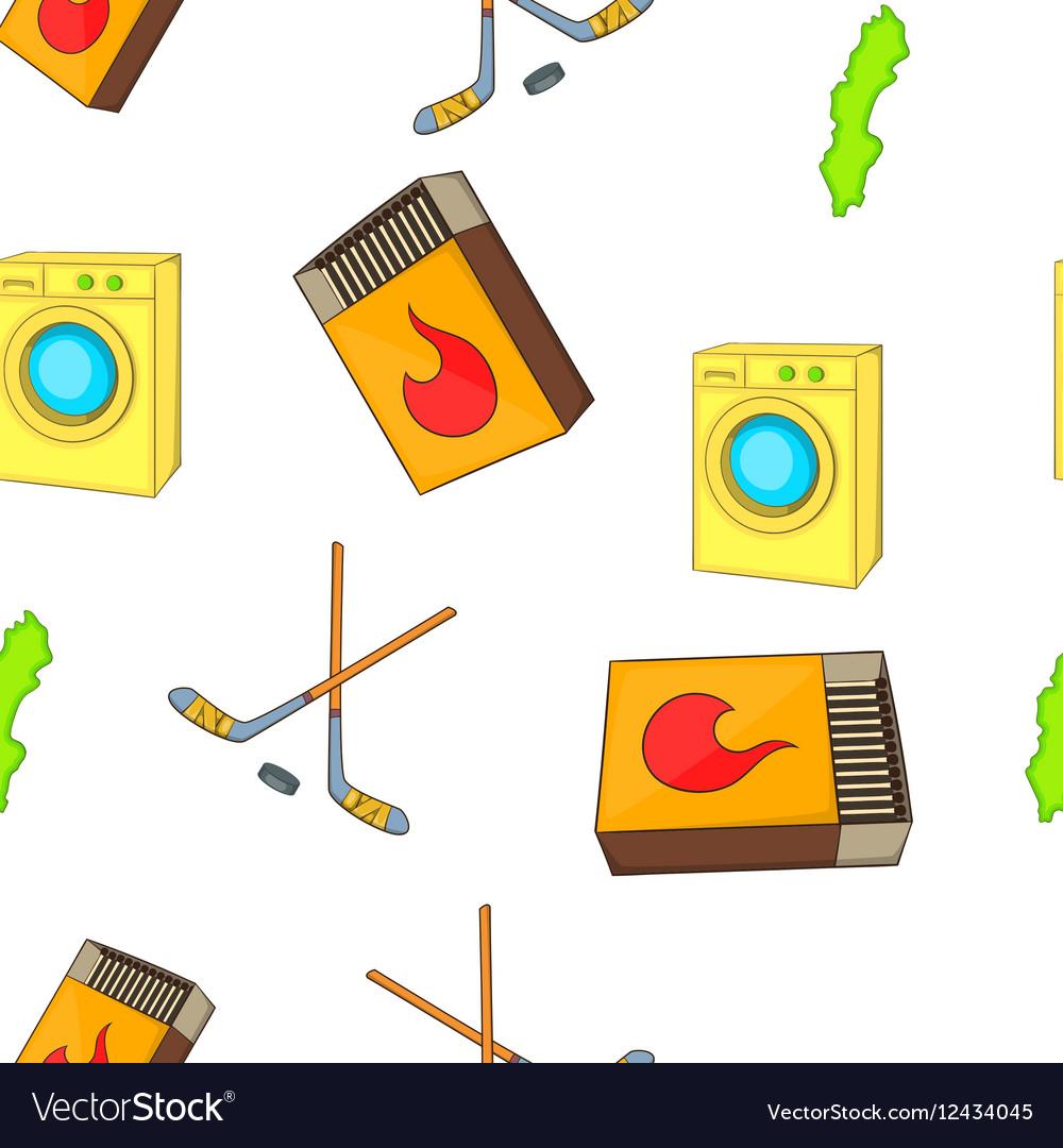 Sweden elements pattern cartoon style vector image