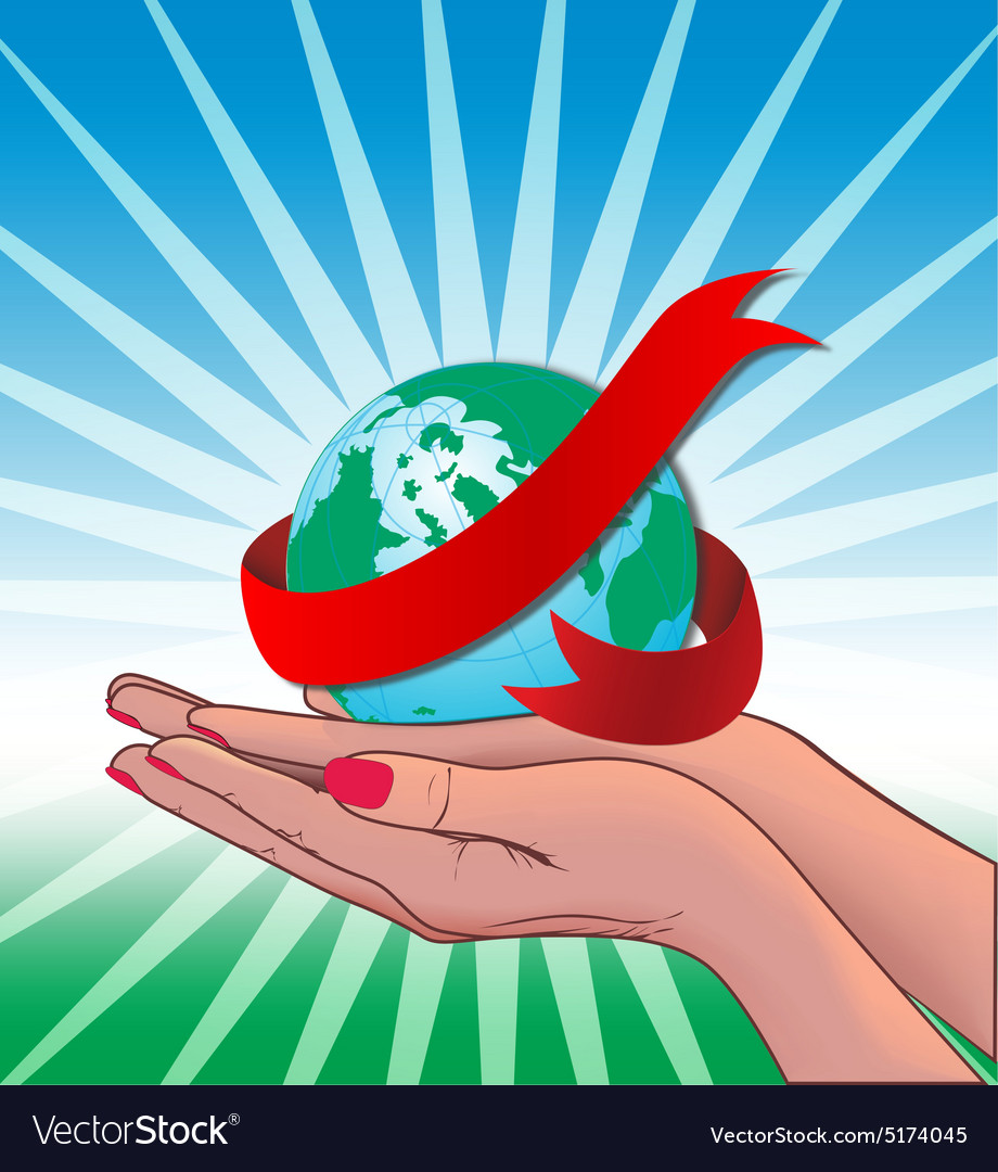 Two Hand holding globe world vector image