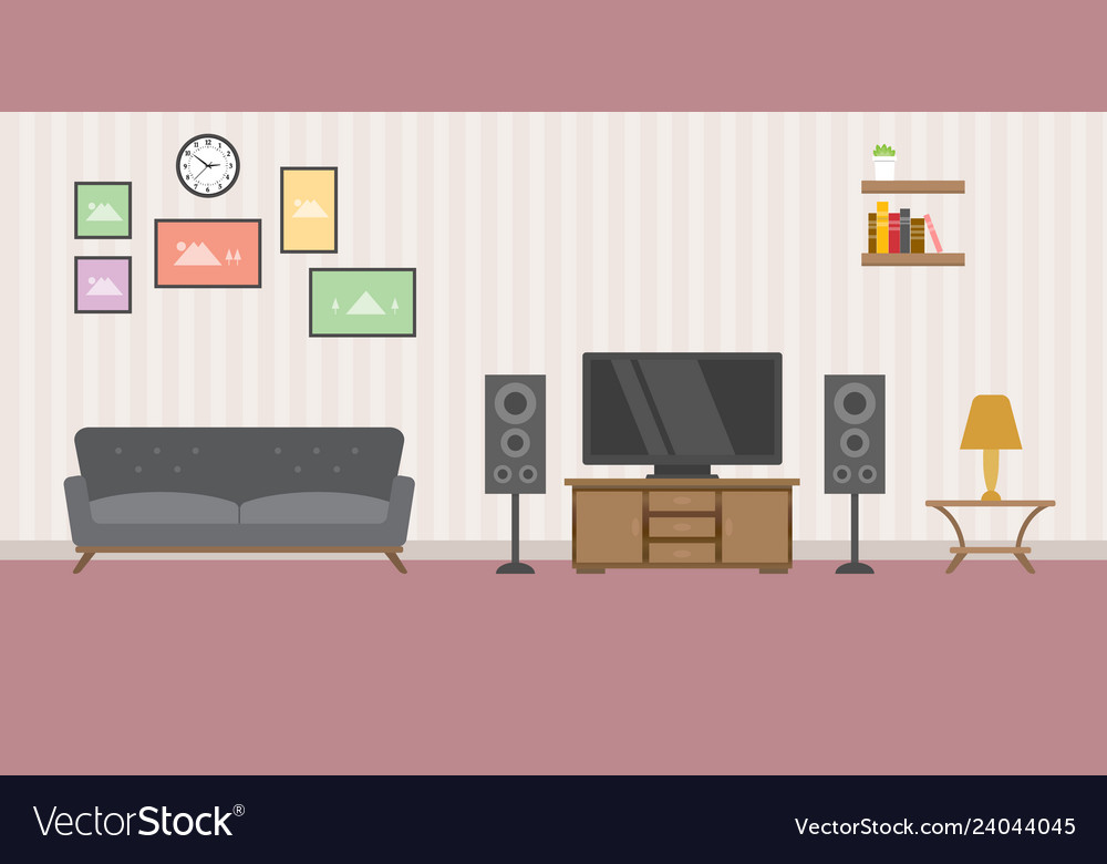 Warm living room concept with sofa tv and books