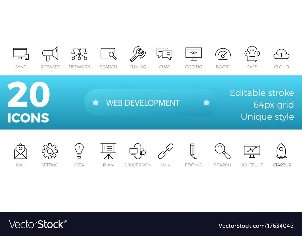 Web development icons set outline style