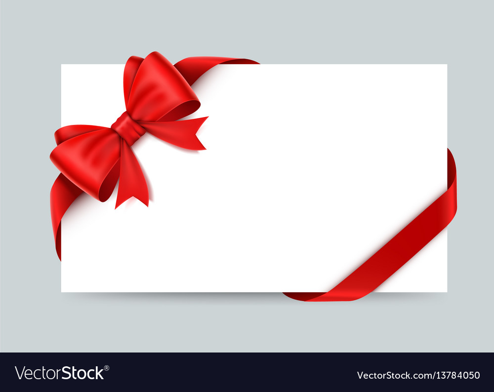 Beautiful card with red gift bows and ribbons vector image