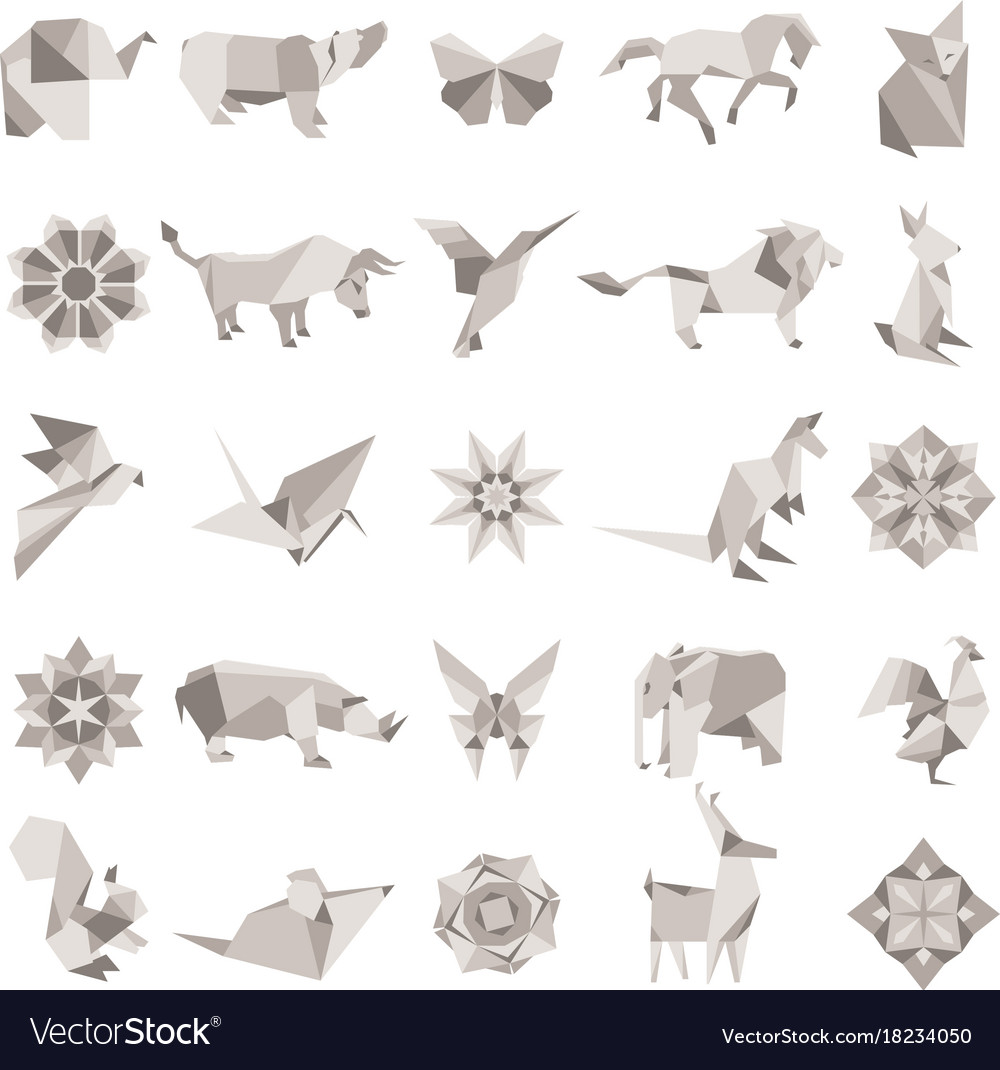 Origami animals set colorful art paper Royalty Free Vector | 1070x1000