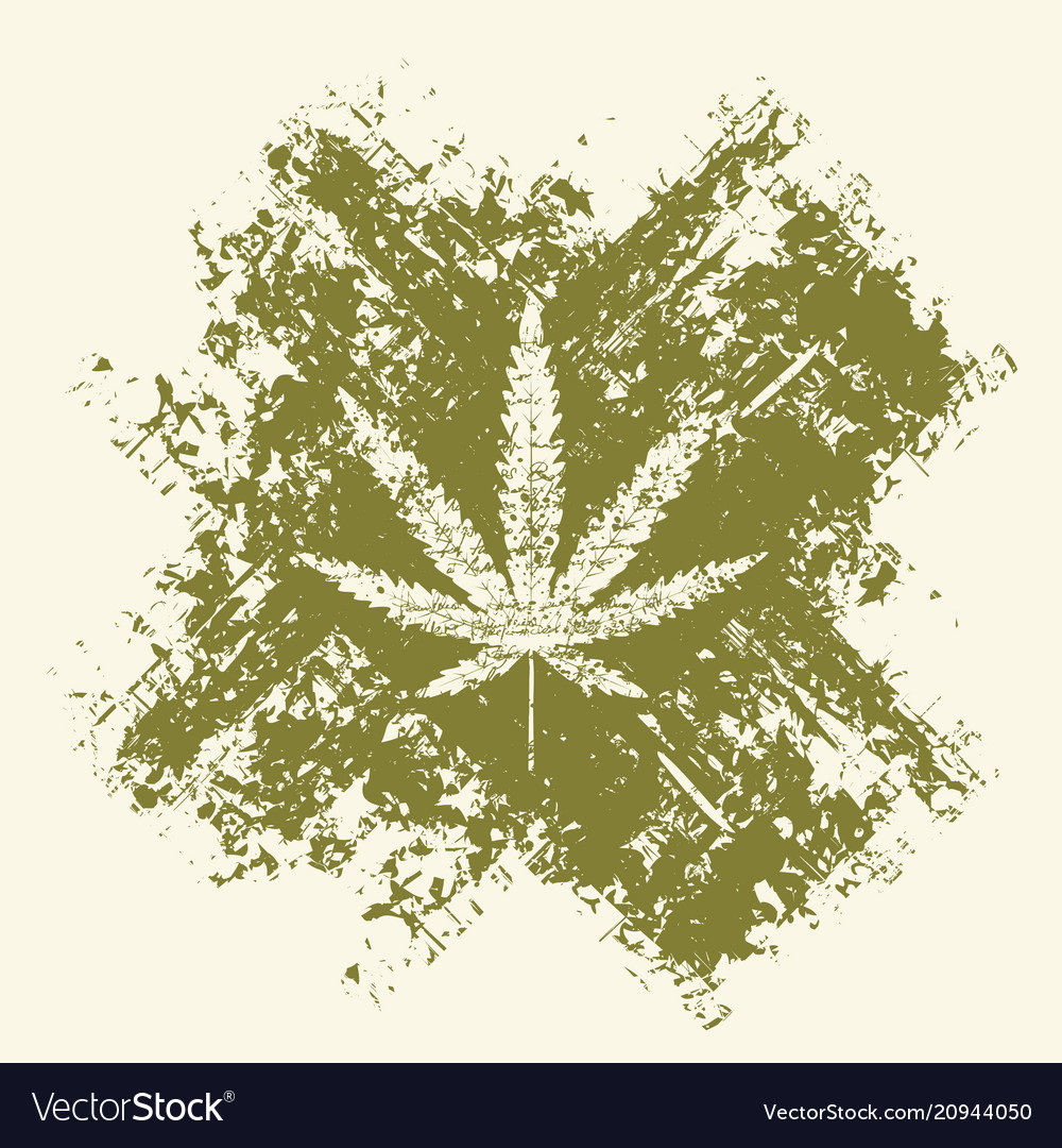 Cannabis leaf and cross in grunge style
