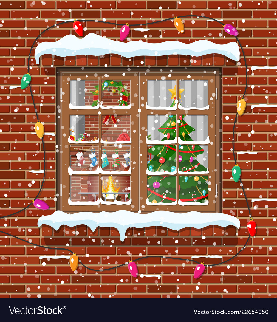Christmas Window.Christmas Window In Brick Wall Vector Image