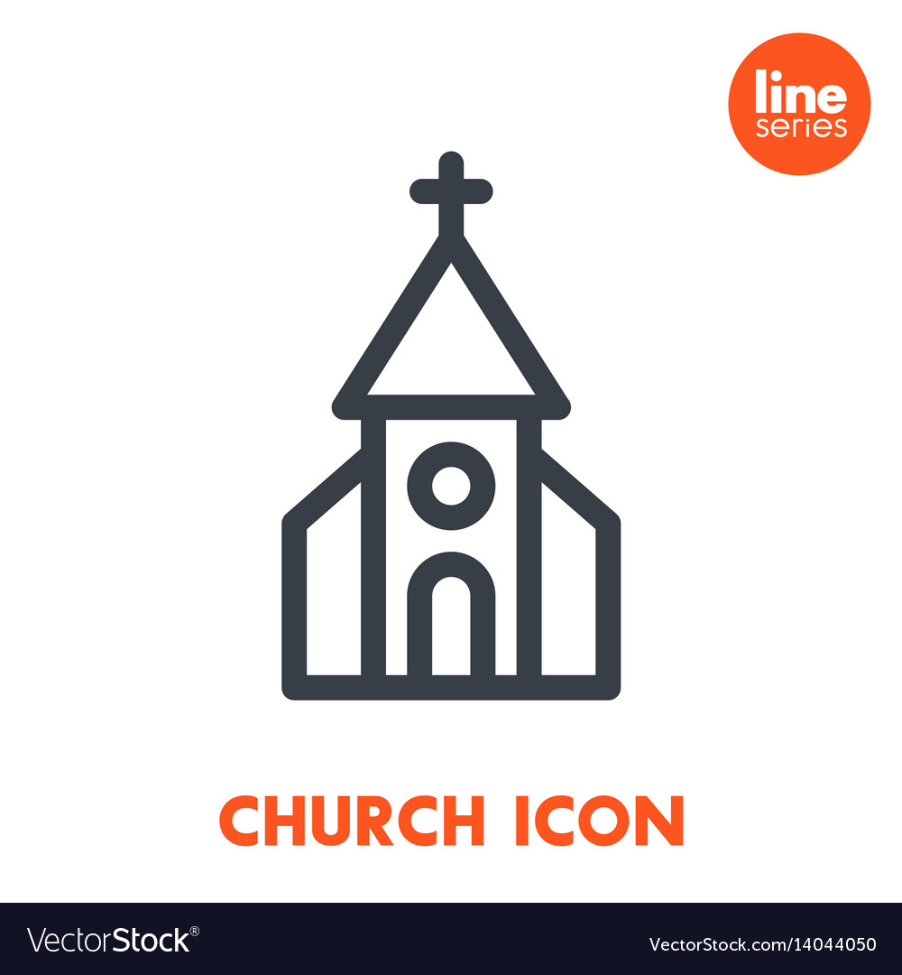 Church line icon over white