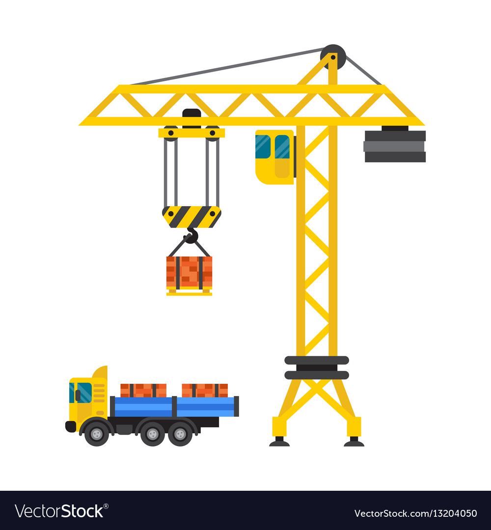 construction crane house and tipper car industry vector image  vectorstock