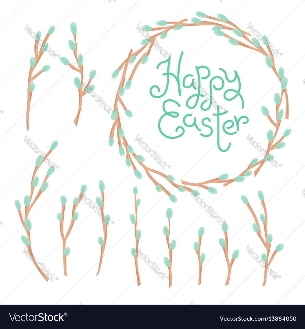 Happy easter inscription wreath and set willow