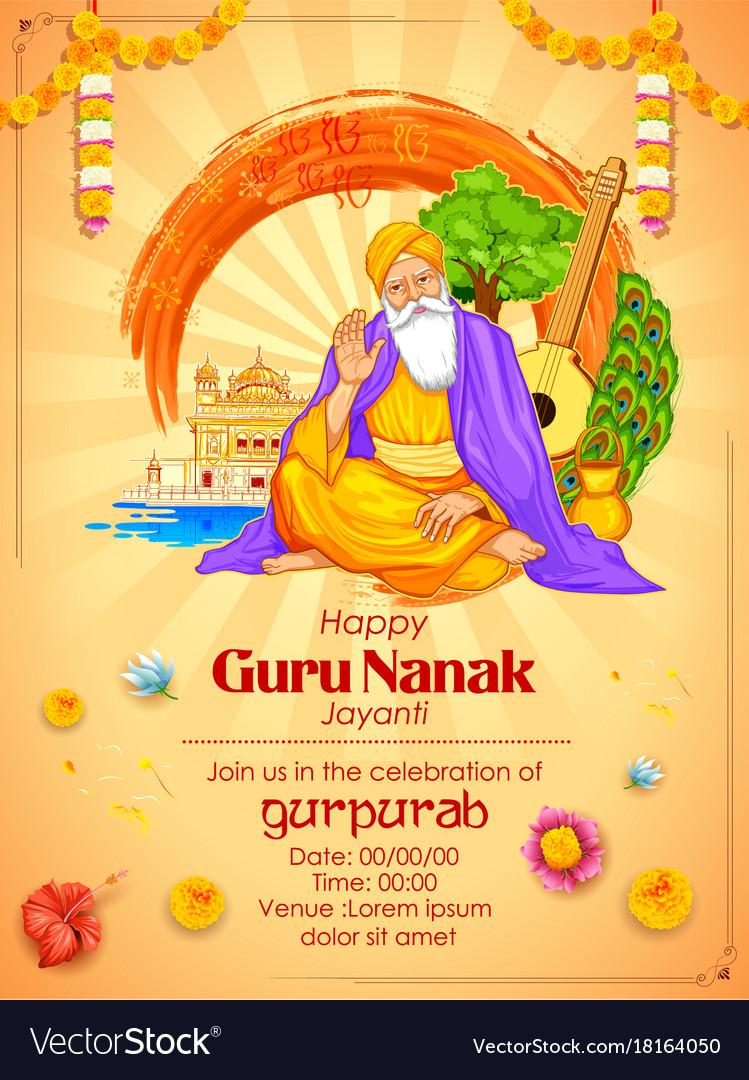 Happy gurpurab guru nanak jayanti festival of