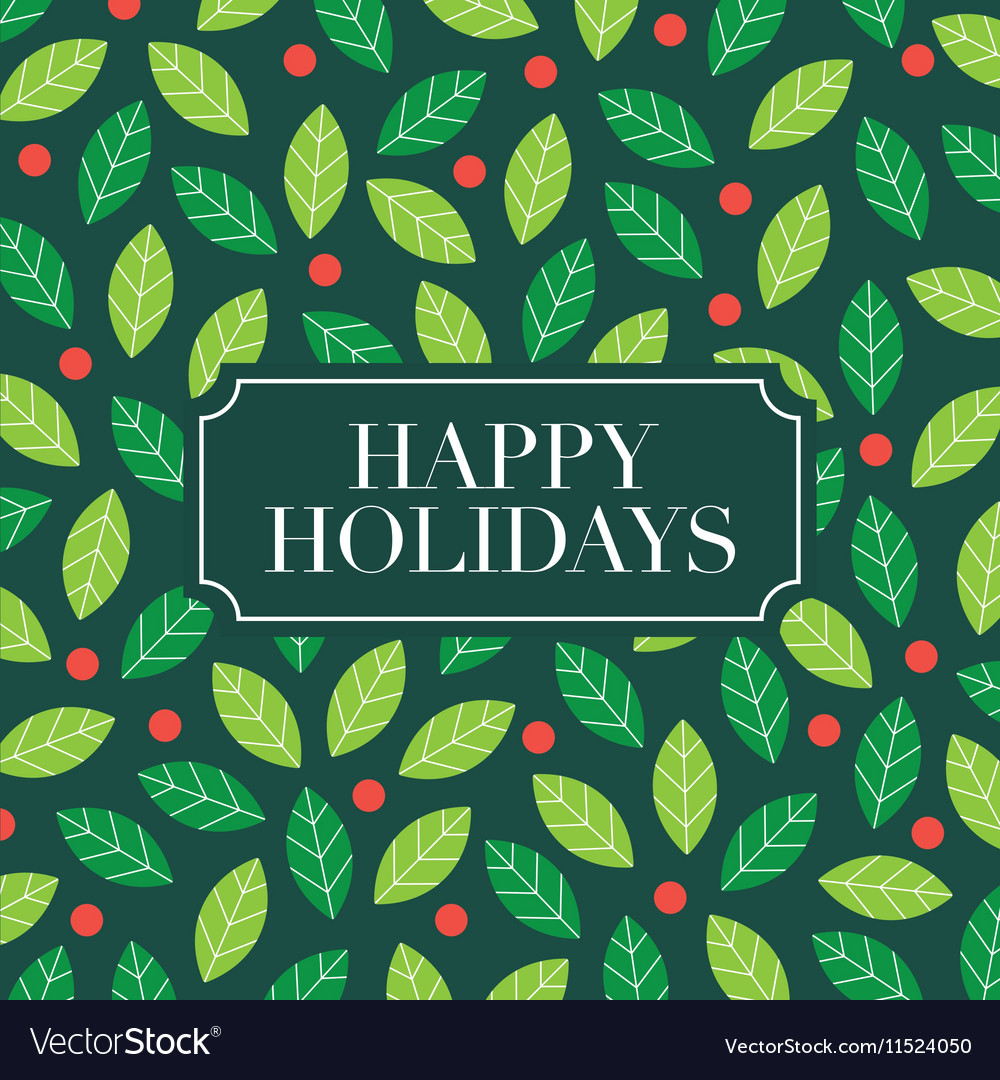 Happy holidays card with mistletoe background