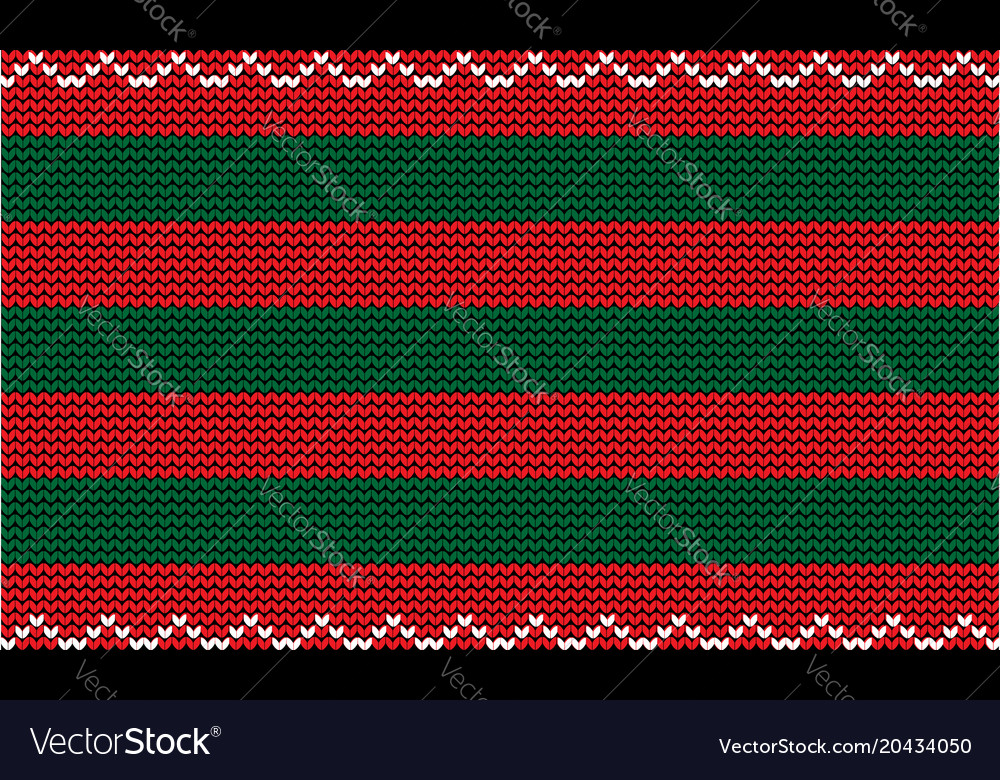 Knitting new year template with red and green Vector Image