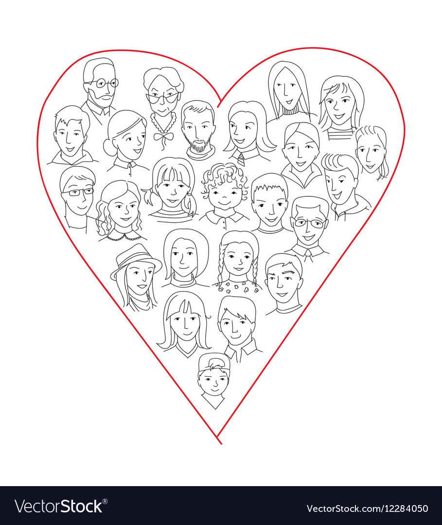 Large group of people heart shape concept