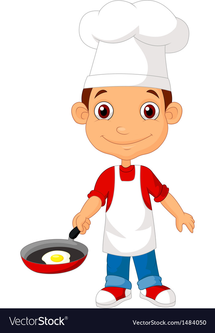 Little chef cartoon with frying pan vector image