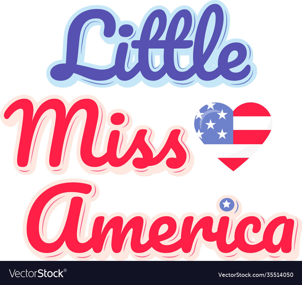 Little miss america on white background