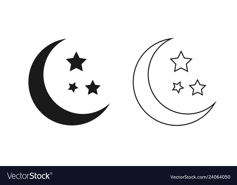 Moon and stars outline isolated