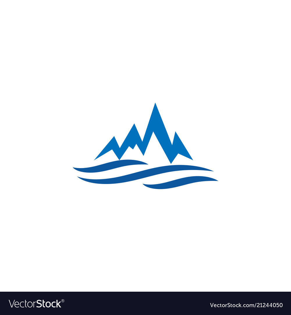 Mountain and water logo icon design template