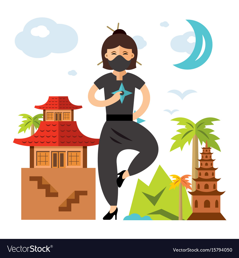 Ninja girl flat style colorful cartoon vector image