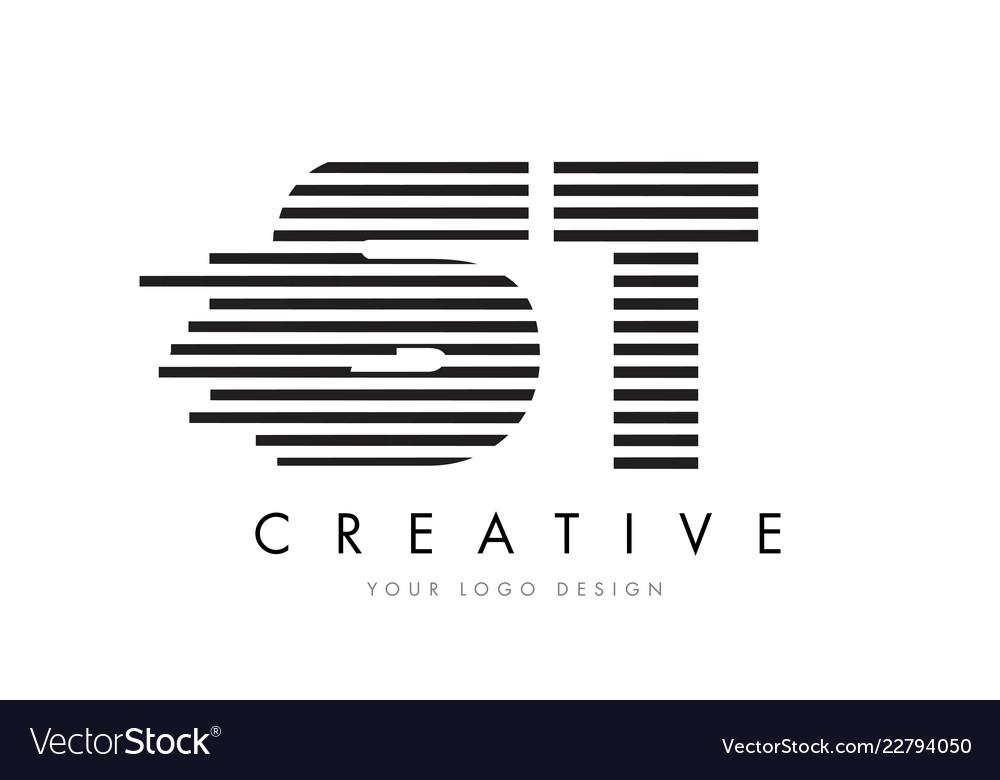 St S T Zebra Letter Logo Design With Black And