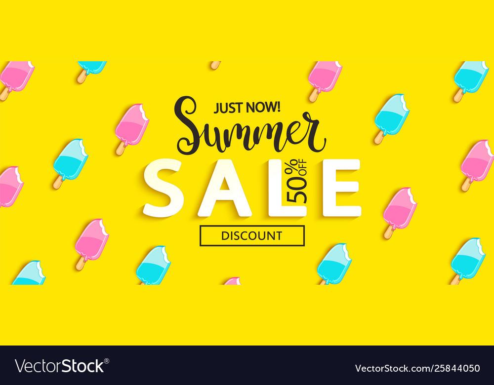 Summer sale bitten ice cream banner