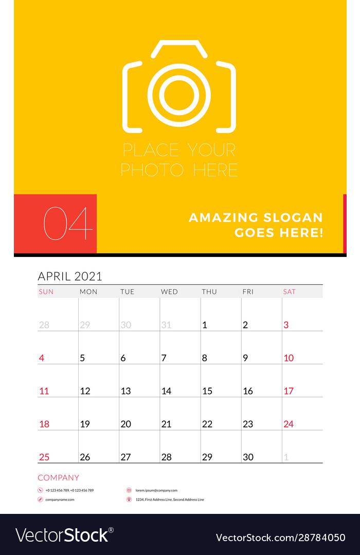 Wall calendar planner template for april 2021