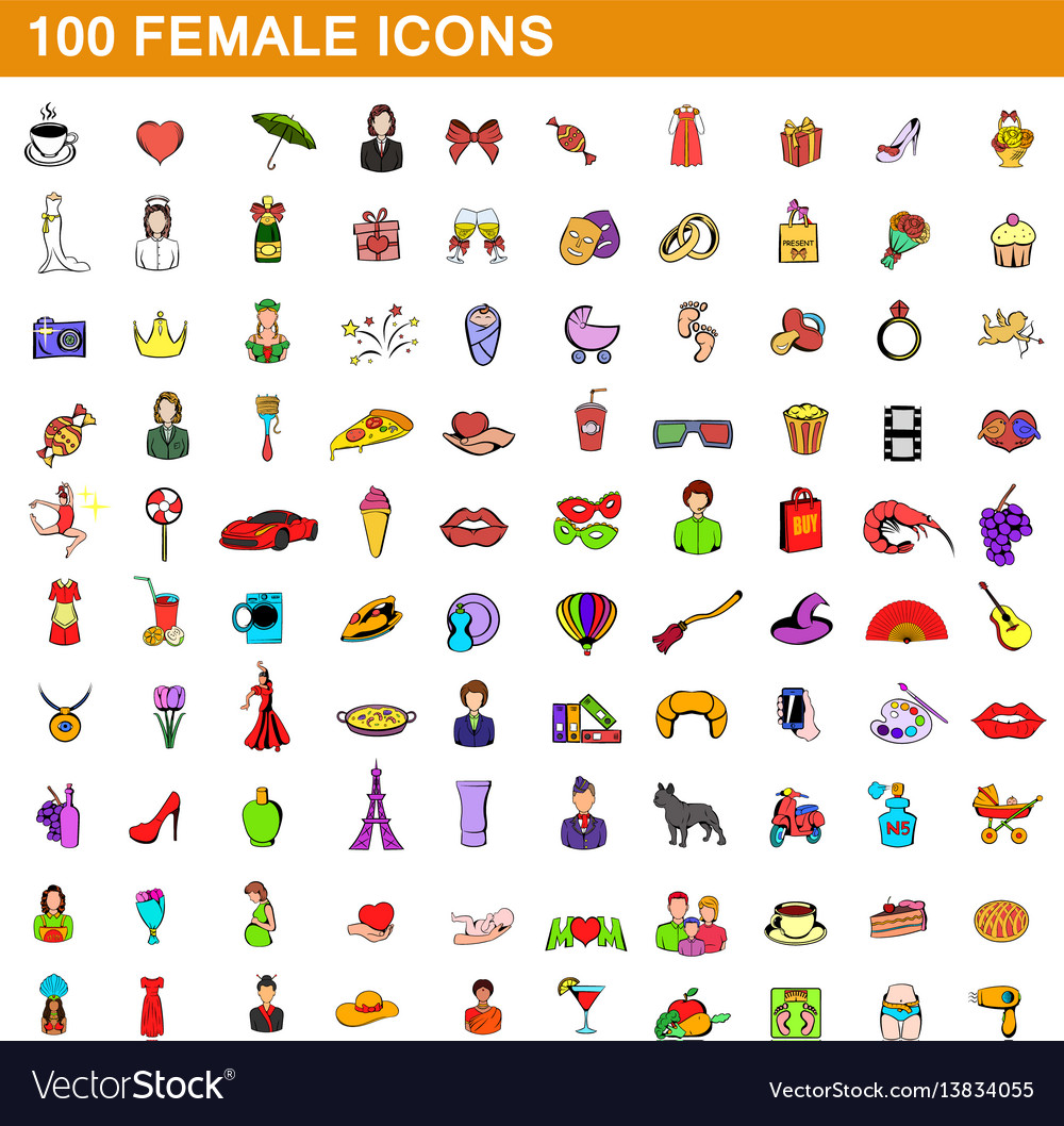 100 female icons set cartoon style