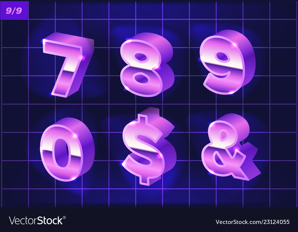 80 s retro alphabet font metallic effect type