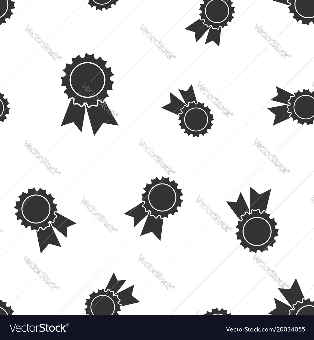 Badge with ribbon medal seamless pattern vector image