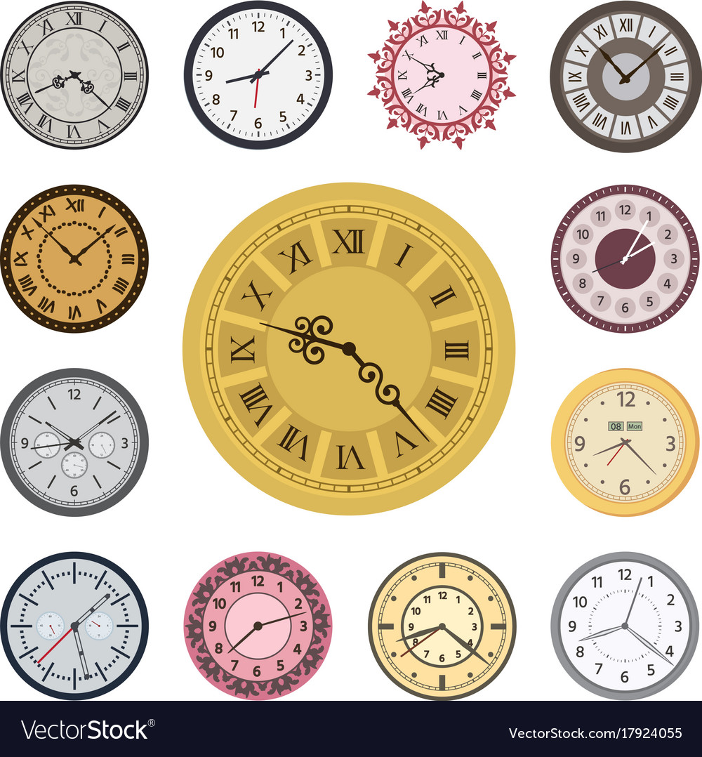 Colorful clock faces vintage modern parts index