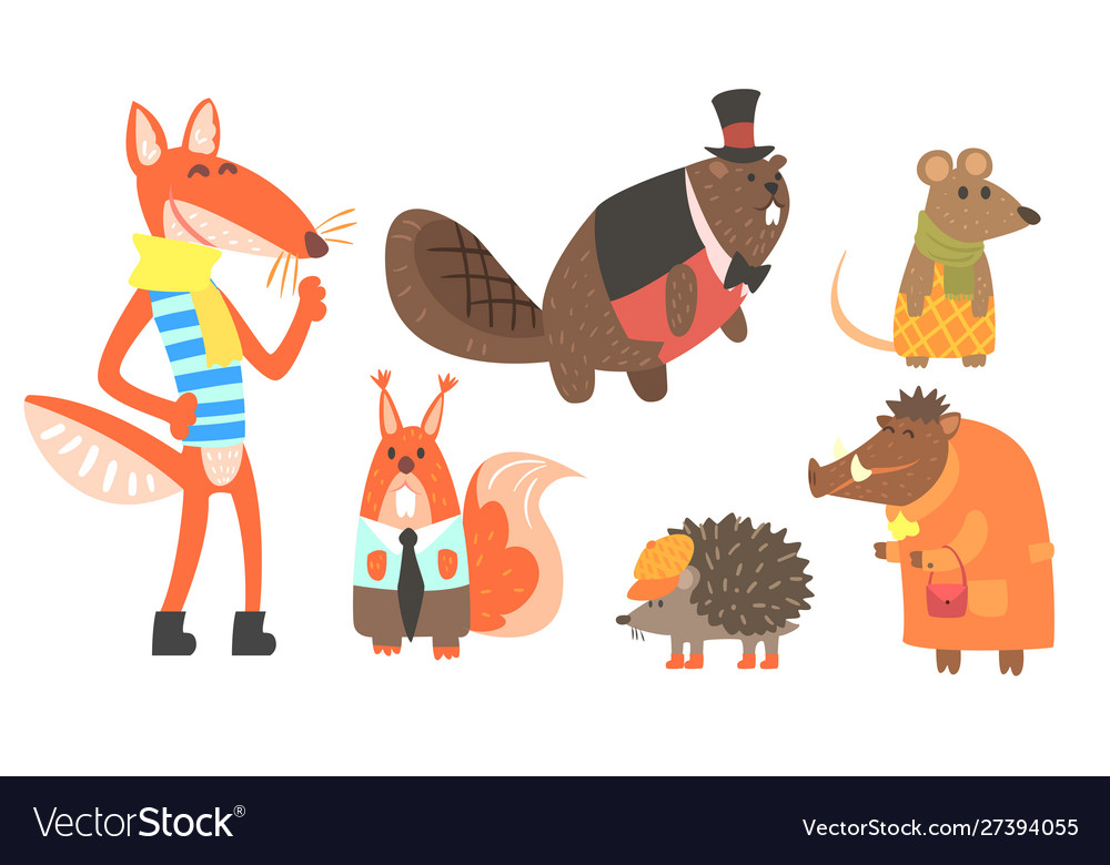 Cute animals cartoon characters in various clothes